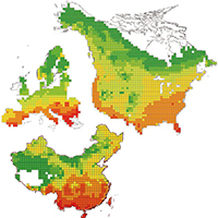57. Maps of tree species endemism in North America, Europe and China in 100‐km grid cells (detail from Fig. 1)